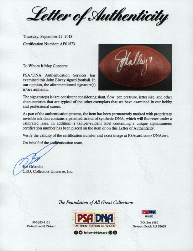 Image 4 for John Elway - Football Signed - HFSID 293079