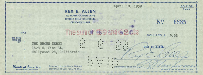 Image 1 for Rex Allen - Autographed Signed Check 04/10/1959 - HFSID 293128