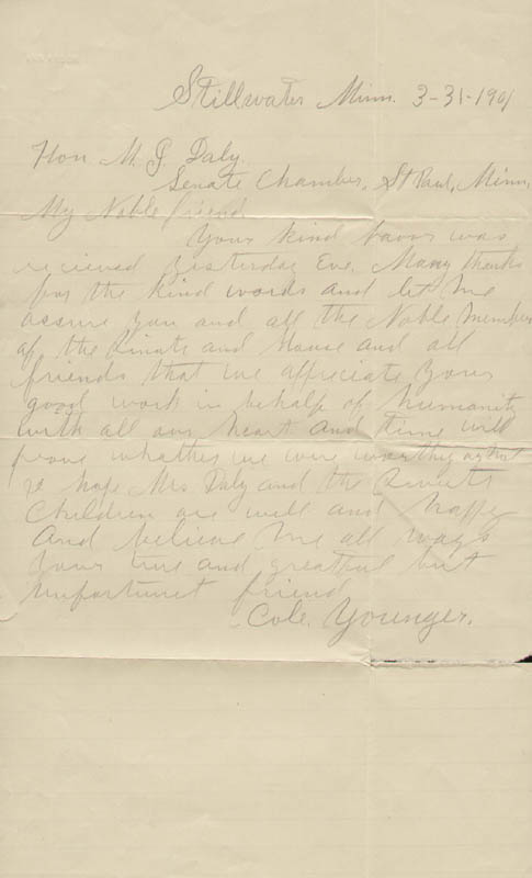 Image 1 for Cole Younger - Autograph Letter Signed 03/31/1901 - HFSID 293174
