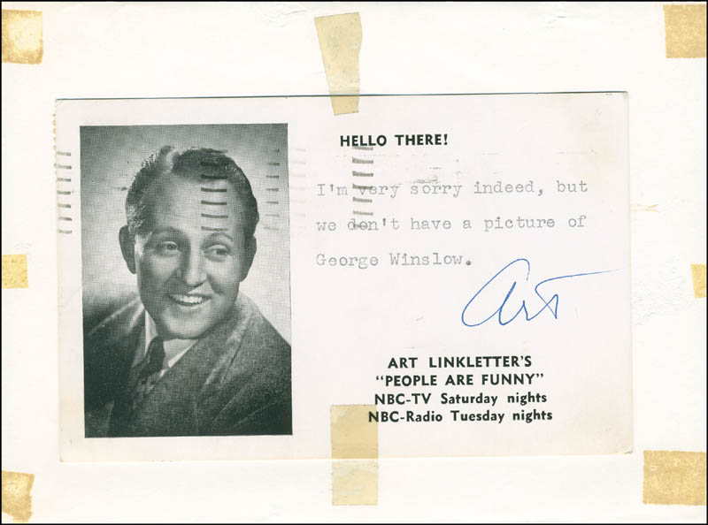 Image 1 for George 'Foghorn' Winslow - Autographed Signed Photograph co-signed by: Art Linkletter - HFSID 293307