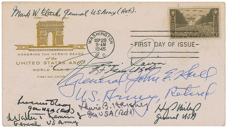 Image 1 for General Mark W. Clark - First Day Cover Signed with co-signers - HFSID 293336
