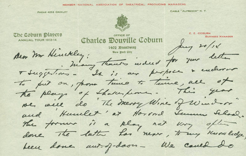 Image 1 for Charles D. Coburn - Autograph Letter Signed 01/20/1914 - HFSID 293358