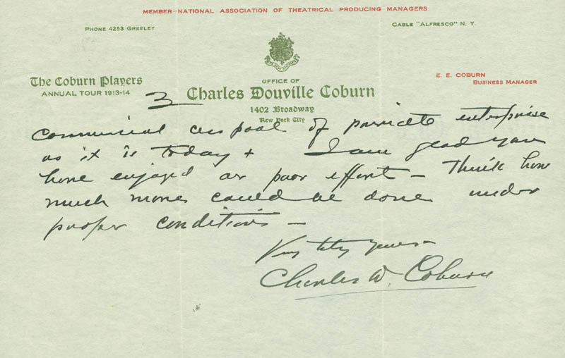 Image 4 for Charles D. Coburn - Autograph Letter Signed 01/20/1914 - HFSID 293358