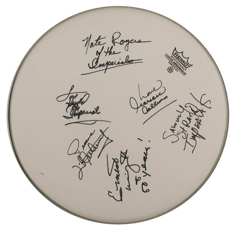 Image 1 for Little Anthony And The Imperials - Drumhead Signed with co-signers - HFSID 293367