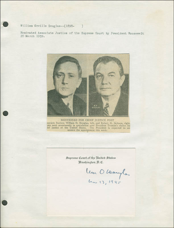 Image 1 for Associate Justice William O. Douglas - Supreme Court Card Signed 03/13/1945 - HFSID 293477