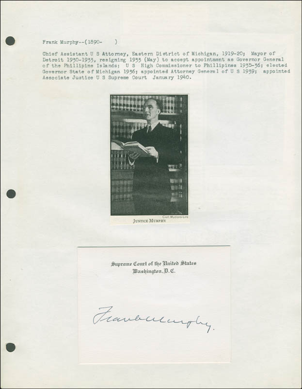 Image 1 for Associate Justice Frank Murphy - Supreme Court Card Signed - HFSID 293480