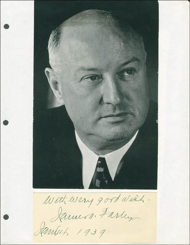 Image 1 for James A. Farley - Autograph Sentiment Signed 01/04/1939 - HFSID 293536