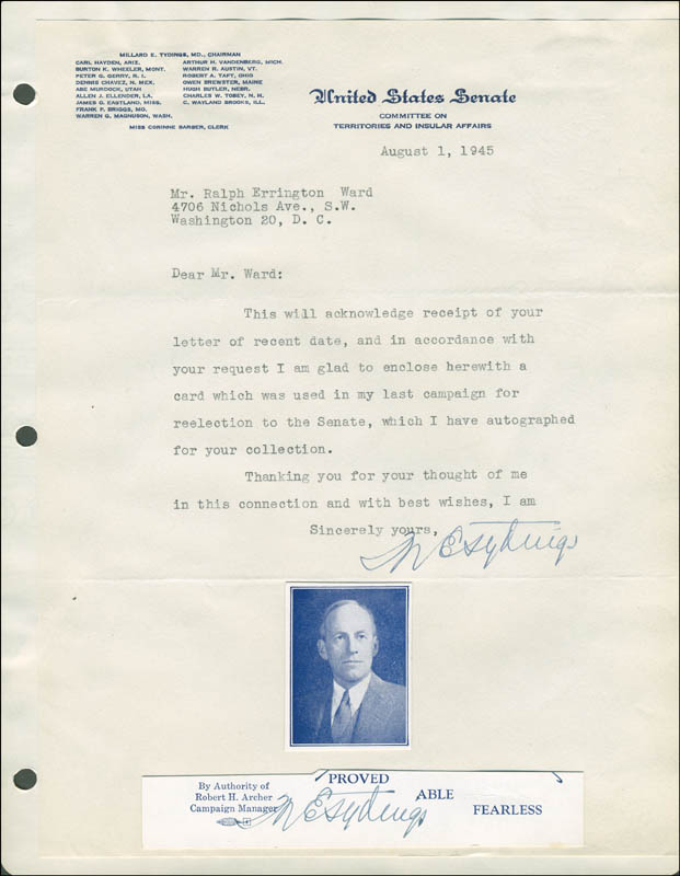 Image 1 for Millard E. Tydings - Typed Letter Twice Signed 08/01/1945 - HFSID 293583