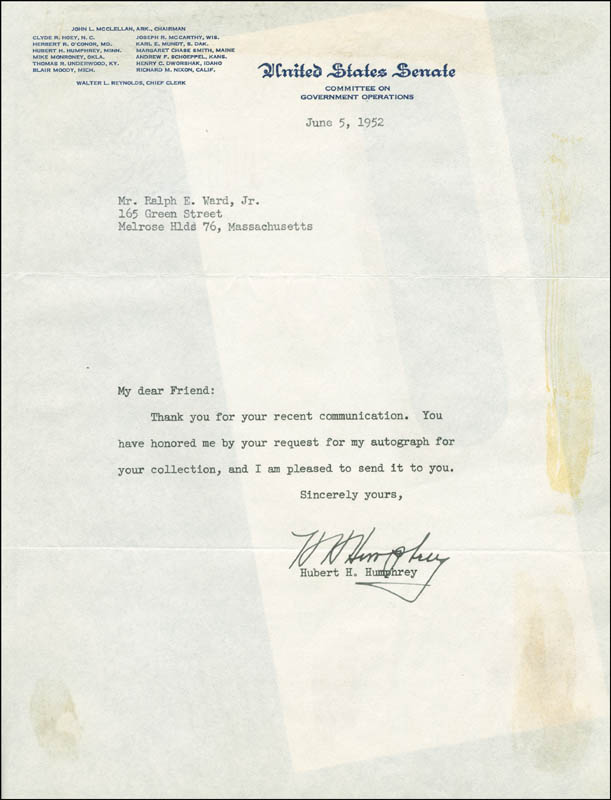 Image 1 for Vice President Hubert H. Humphrey - Typed Letter Signed 06/05/1952 - HFSID 293592