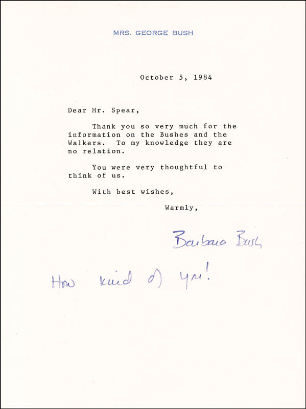 Image 1 for First Lady Barbara Bush - Typed Letter Signed 10/05/1984 - HFSID 29374