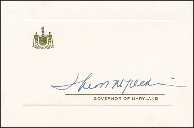 Image 1 for Governor Theodore Mckeldin - Printed Card Signed In Ink - HFSID 293795