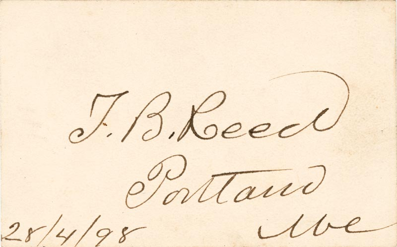 Image 1 for Thomas B. Reed - Autograph 04/28/1898 - HFSID 2939