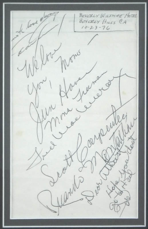 Image 3 for John 'Duke' Wayne - Autograph Note Signed 10/23/1976 with co-signers - HFSID 293905