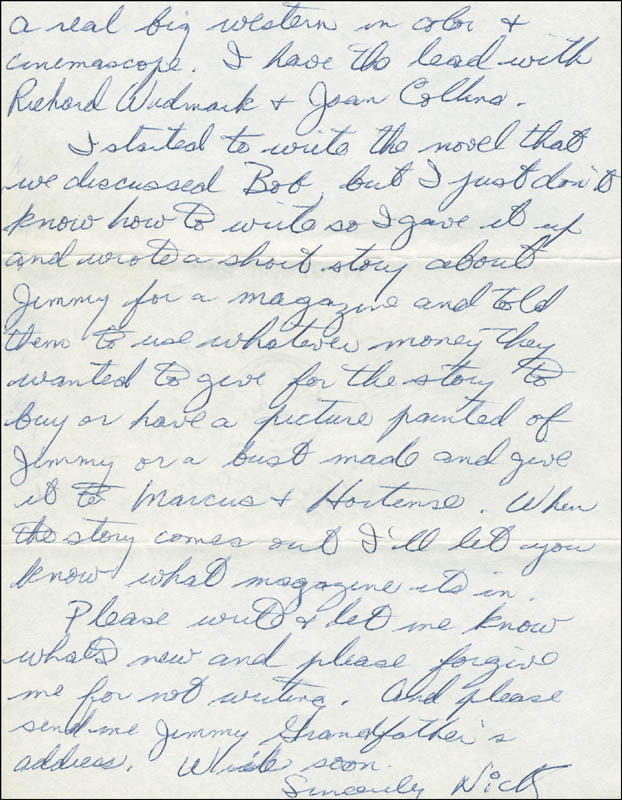 Image 1 for Nick 'The Rebel' Adams - Autograph Letter Signed 03/28/1956 - HFSID 294072