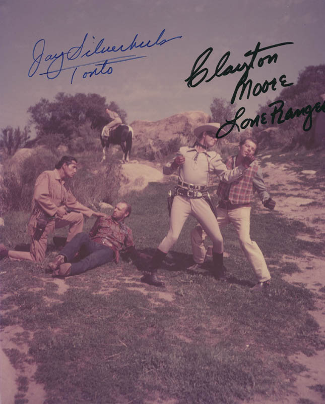 Lone Ranger Tv Cast Autographed Signed Photograph Co Signed By Clayton The Lone Ranger Moore Jay Tonto Silverheels Historyforsale Item 294126