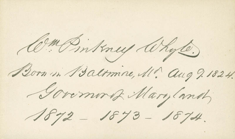 Image 1 for William Pinkney Whyte - Autograph - HFSID 294200