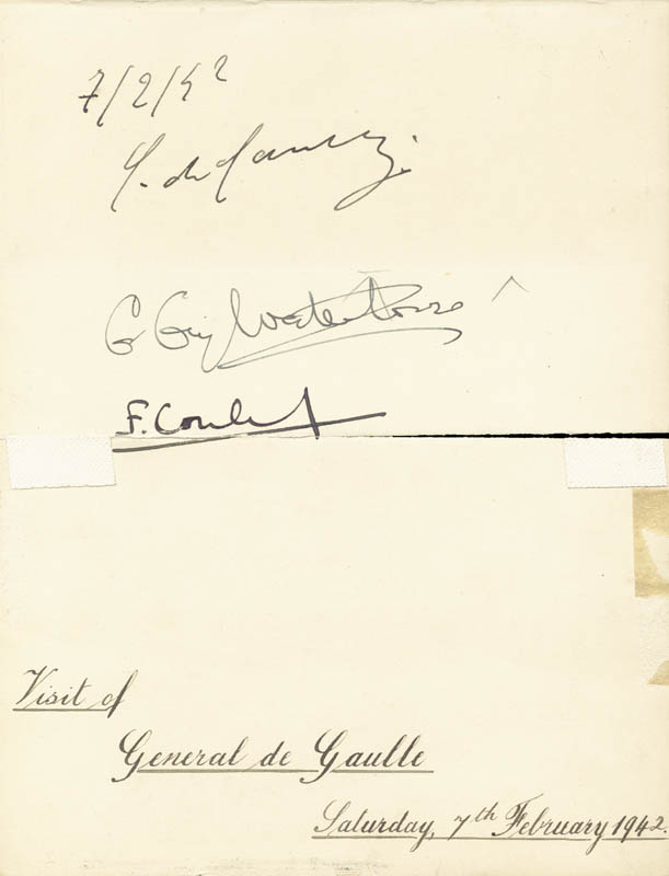Image 1 for President Charles De Gaulle (France) - Autograph 02/07/1942 with co-signers - HFSID 29446