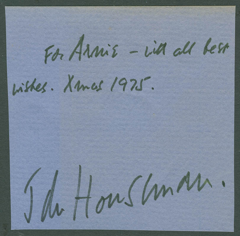 Image 1 for John Houseman - Autograph Note Signed 12/1975 - HFSID 294748