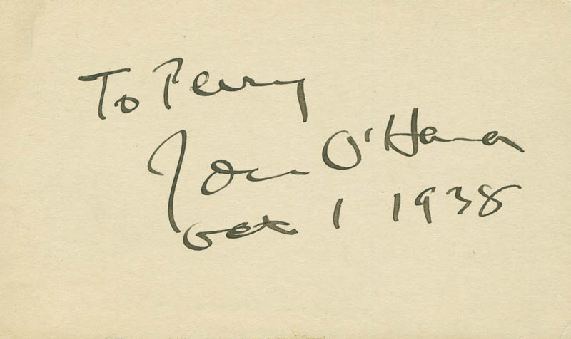 Image 1 for John H. O'Hara - Inscribed Signature 10/01/1938 - HFSID 294793