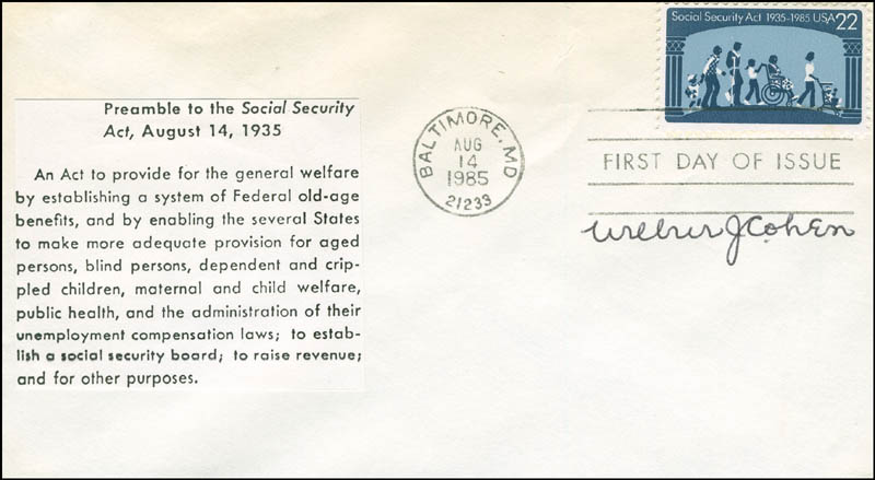 Image 1 for Wilbur J. Cohen - First Day Cover Signed - HFSID 294808