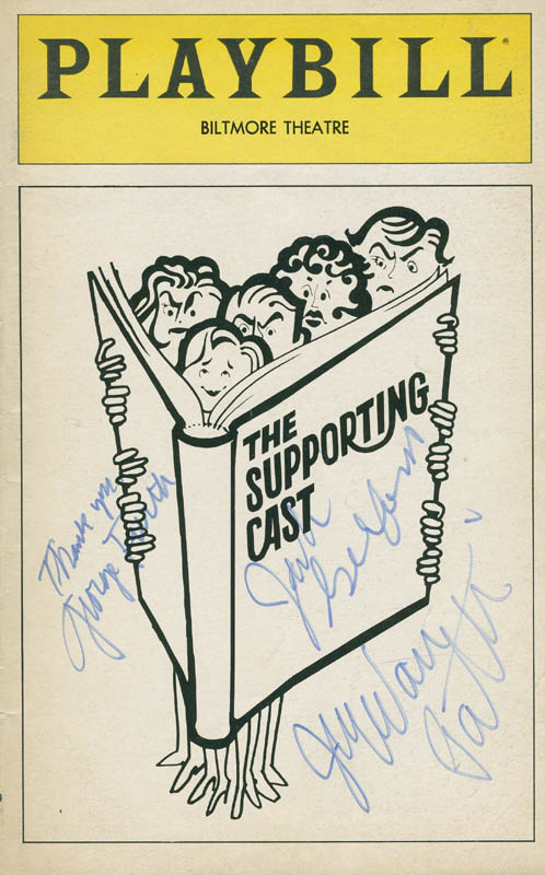 Image 1 for The Supporting Cast Play Cast - Show Bill Cover Signed co-signed by: Jack Gilford, Joyce Van Patten, George Furth - HFSID 294815