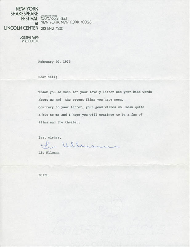 Image 1 for Liv Ullmann - Typed Letter Signed 02/20/1975 - HFSID 294965