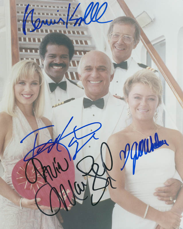 Image 1 for The Love Boat TV Cast - Autographed Signed Photograph co-signed by: Bernie Kopell, Ted Lange, Jill Whelan, Gavin Macleod - HFSID 295009