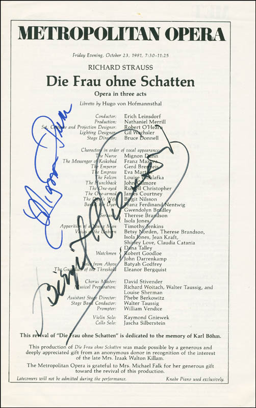 Image 1 for Die Frau Ohne Schatten Opera Cast - Program Signed Circa 10/1981co-signed by: Birgit Nilsson, Mignon Dunn - HFSID 295346