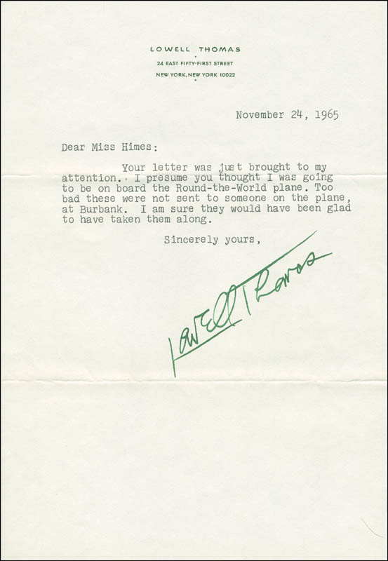 Image 1 for Lowell Thomas - Typed Letter Signed 11/24/1965 - HFSID 295364