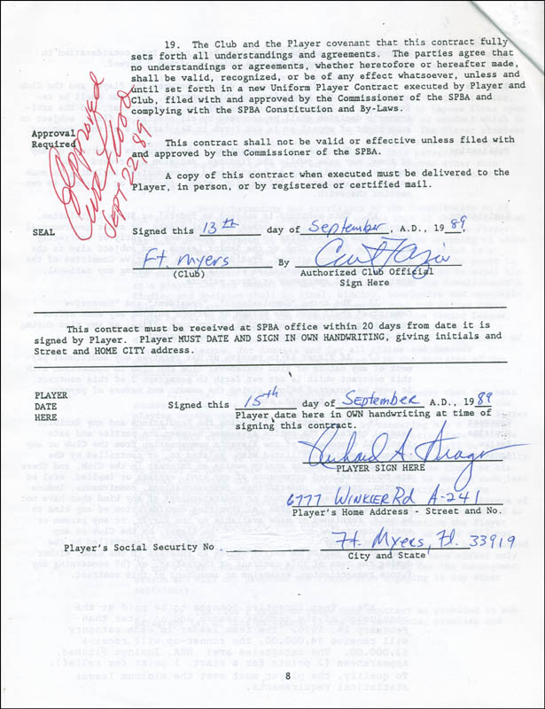 Image 1 for Curt Flood - Contract Signed 09/22/1989 co-signed by: Dick Drago - HFSID 295370