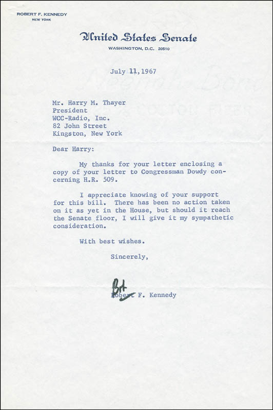 Image 1 for Robert F. Kennedy - Typed Letter Signed 07/11/1967 - HFSID 295407