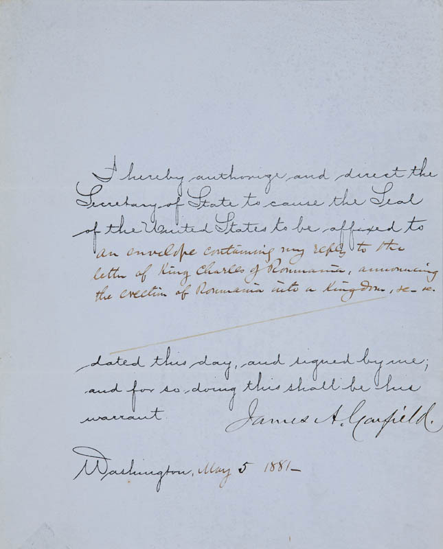 Image 1 for President James A. Garfield - Document Signed 05/05/1881 - HFSID 295428