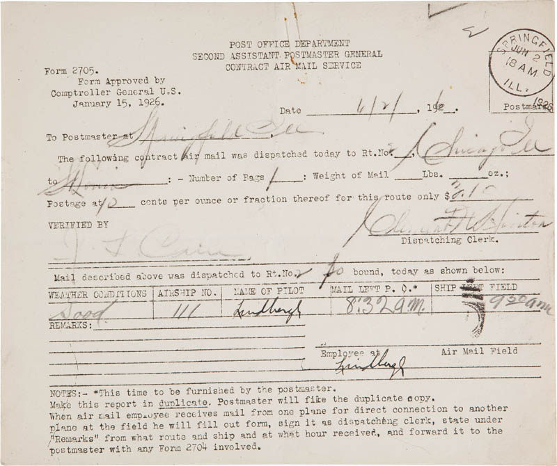 Image 1 for Charles A. Lindbergh - Contract Signed 06/02/1926 - HFSID 295434
