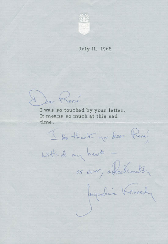 Image 1 for First Lady Jacqueline B. Kennedy - Autograph Letter Signed 07/11/1968 - HFSID 295436