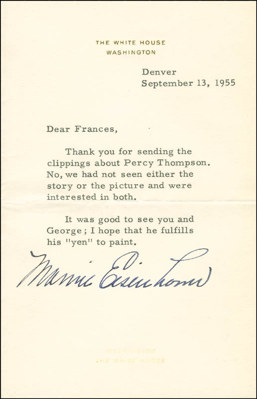 Image 1 for First Lady Mamie Doud Eisenhower - Typed Letter Signed 09/13/1955 - HFSID 295457