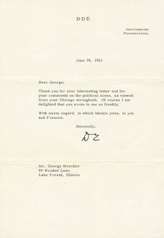 Image 1 for President Dwight D. Eisenhower - Typed Letter Signed 06/30/1961 - HFSID 295459
