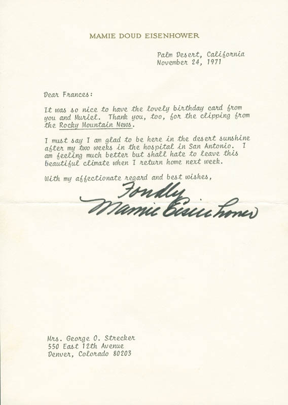 Image 1 for First Lady Mamie Doud Eisenhower - Typed Letter Signed 11/24/1971 - HFSID 295462