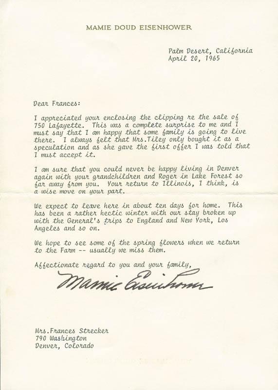 Image 1 for First Lady Mamie Doud Eisenhower - Typed Letter Signed 04/20/1965 - HFSID 295463