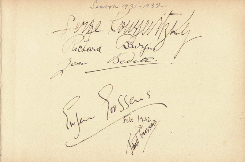 Image 1 for Sir Eugene Goossens - Autograph 2/1932 co-signed by: Serge Alexandrovich Koussevitzky, Richard Burgin, Jean Bedeti, Janet Goosens - HFSID 29547