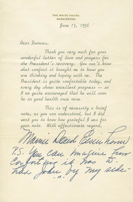 Image 1 for First Lady Mamie Doud Eisenhower - Typed Letter Signed 06/13/1956 - HFSID 295470