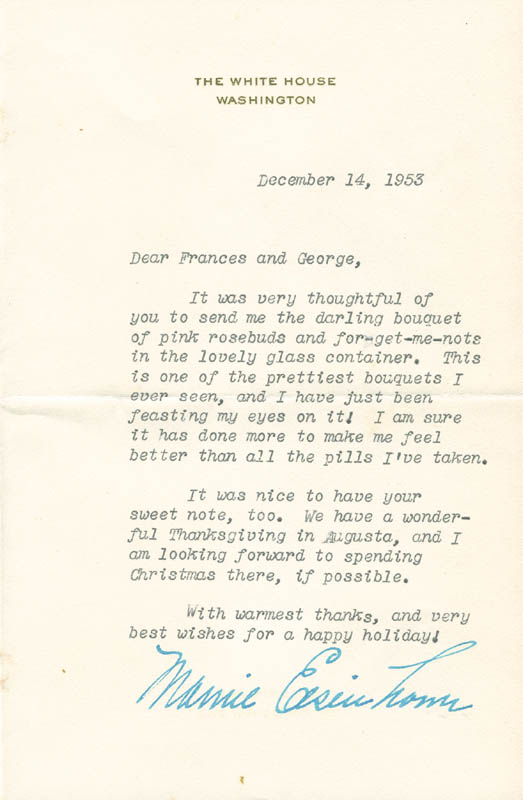 Image 1 for First Lady Mamie Doud Eisenhower - Typed Letter Signed 12/14/1953 - HFSID 295485