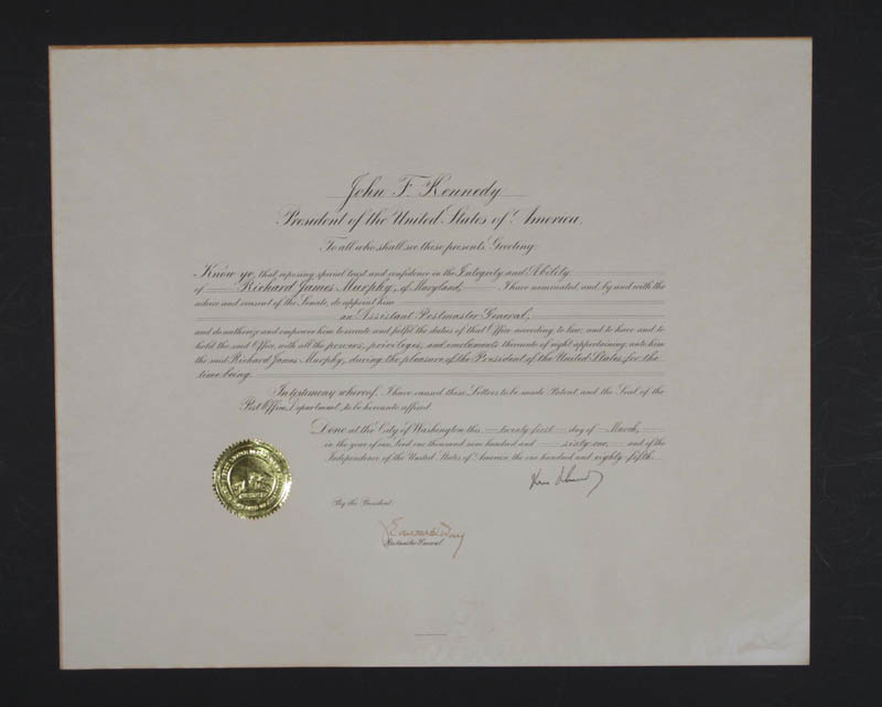 Image 5 for President John F. Kennedy - Document Signed 03/21/1961 co-signed by: J. Edward Day - HFSID 295504