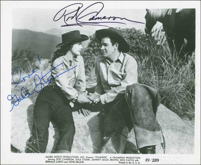Image 1 for Stampede Movie Cast - Autographed Signed Photograph co-signed by: Gale Storm, Rod Cameron - HFSID 295623