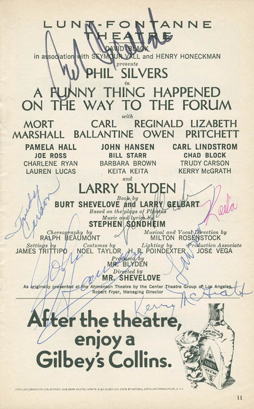 Image 1 for A Funny Thing Happened On The Way To The Forum Play Cast - Show Bill Signed with co-signers - HFSID 295744