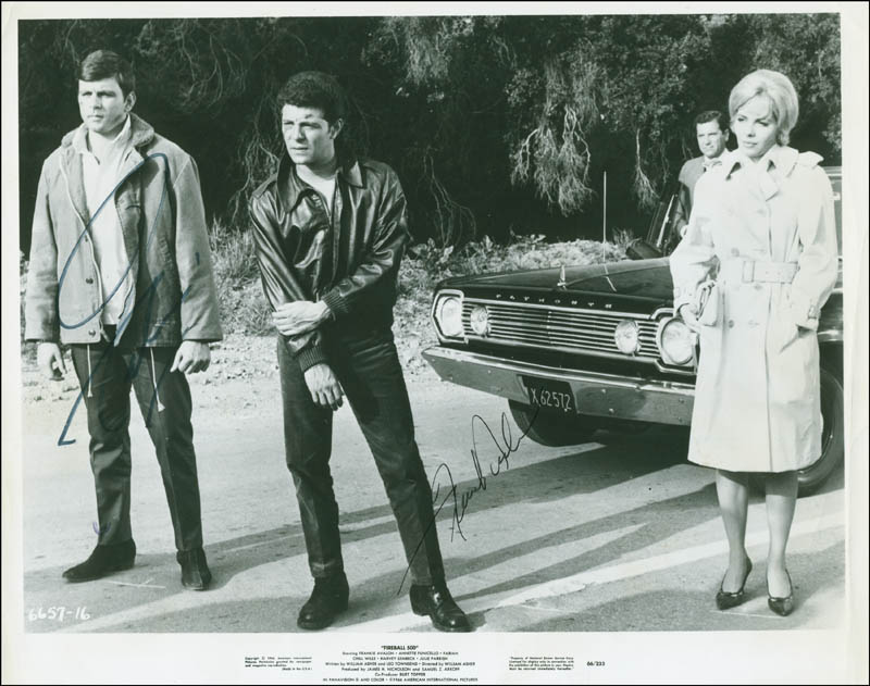 Image 1 for Fireball 500 Movie Cast - Autographed Signed Photograph co-signed by: Fabian, Frankie Avalon - HFSID 295756