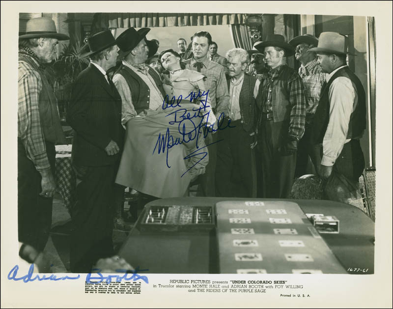 Image 1 for Under Colorado Skies Movie Cast - Autographed Signed Photograph co-signed by: Monte Hale, Adrian (Lorna Gray) Booth - HFSID 295777