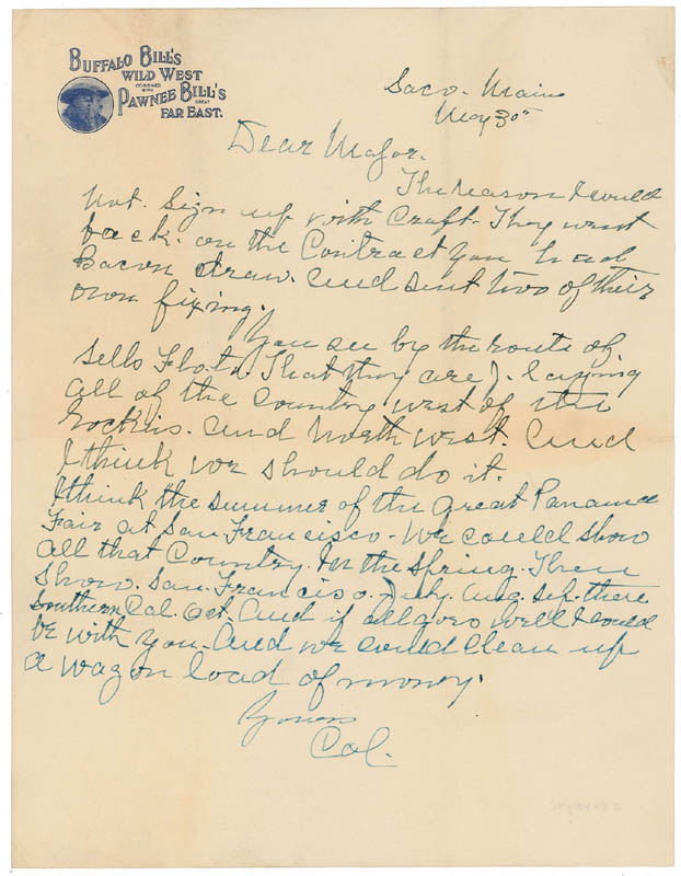 Image 1 for William F. 'Buffalo Bill' Cody - Autograph Letter Signed 05/30 - HFSID 295784