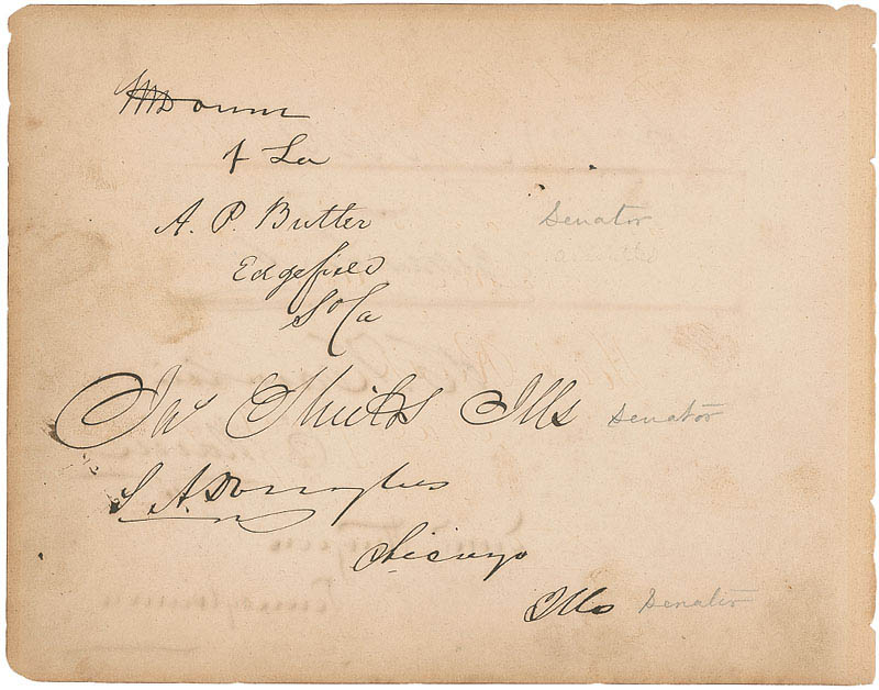 Image 1 for Vice President Hannibal Hamlin - Autograph with co-signers - HFSID 295786