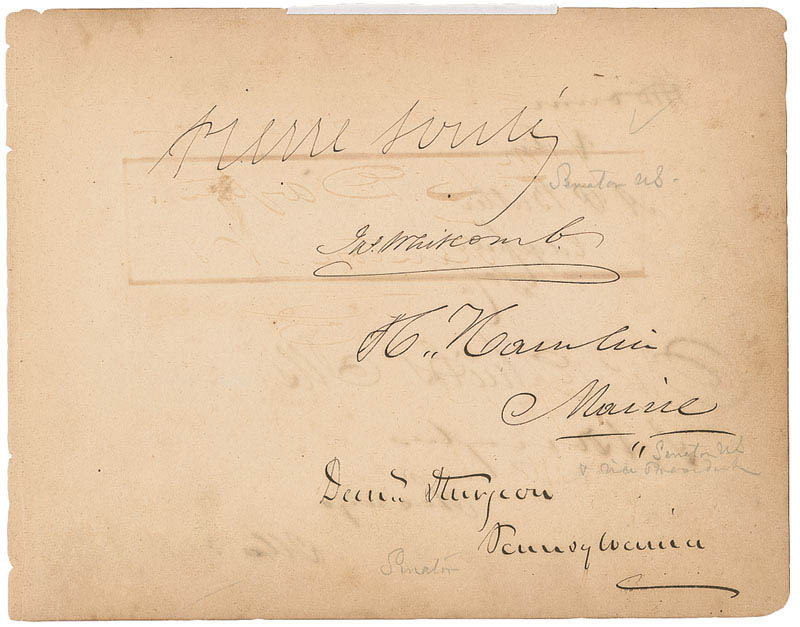 Image 3 for Vice President Hannibal Hamlin - Autograph with co-signers - HFSID 295786