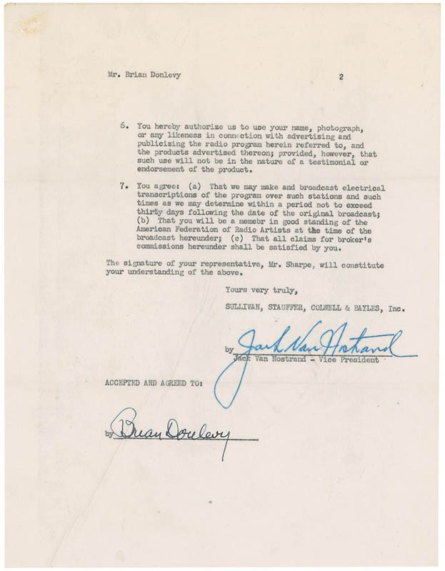 Image 3 for Brian Donlevy - Document Signed 11/28/1949 co-signed by: Jack Van Nostrand - HFSID 295793